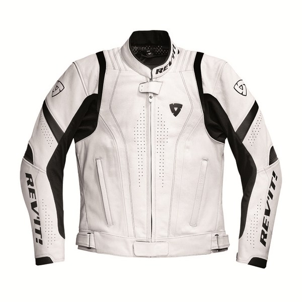 Leather motorcycle jacket Rev'it Warrior White Black