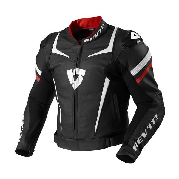 Leather motorcycle jacket Rev'it Stellar Black Red