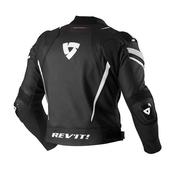 Leather motorcycle jacket Rev'it Stellar Black White