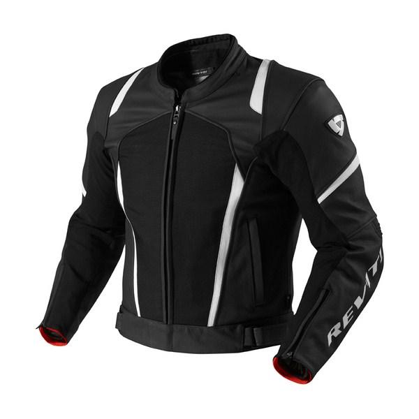 Leather motorcycle jacket Rev'it Galactic Black White