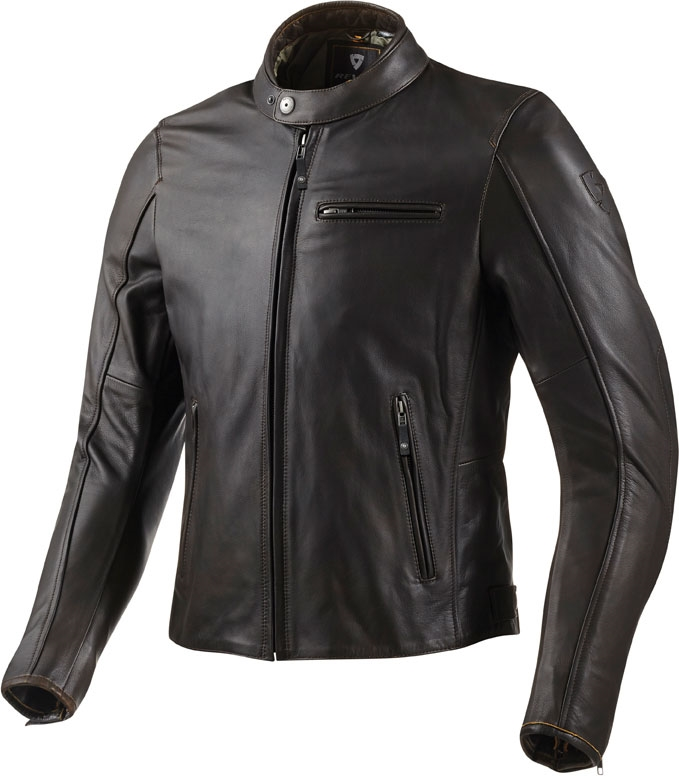 Giacca moto pelle Rev'it Flatbush marrone scuro
