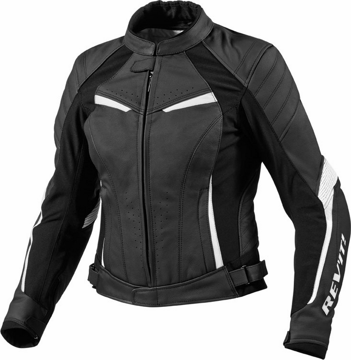 Giacca moto donna pelle Rev'it Xena Ladies nero-bianco