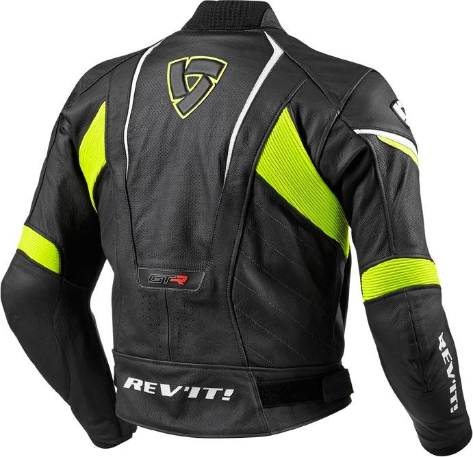 Giacca moto pelle Rev'it GT-R nero giallo neon