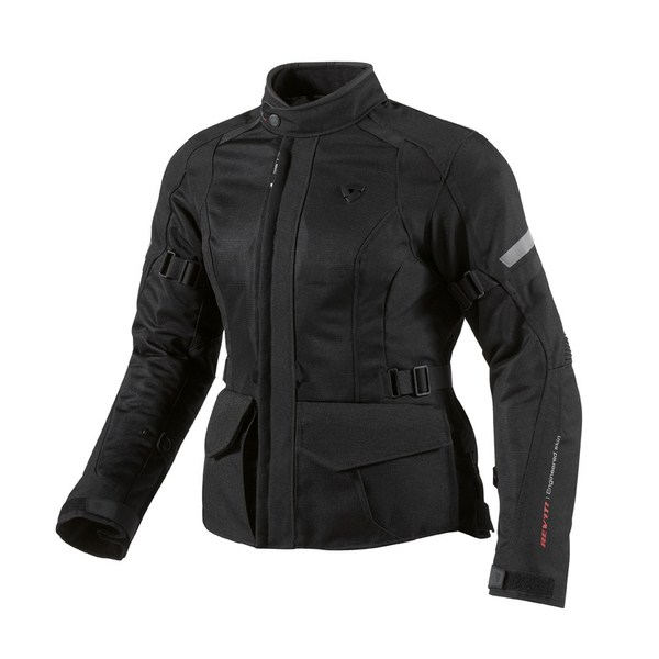 Black woman motorcycle jacket Rev'it Levante