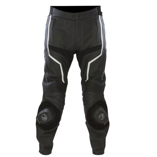 Leather motorcycle pants Approved Bering Flash Black White