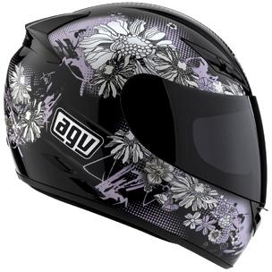 Casco moto Agv K-3 Multi Fleurs nero-rosa