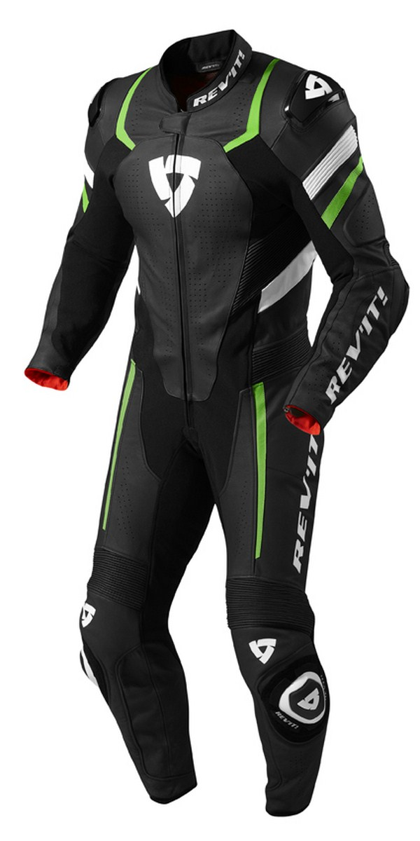 Tuta moto pelle Rev'it Hunter Nero Verde Acido