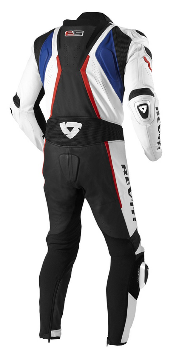 Leather biker motorcycle jacket Rev'it Hunter White Blue