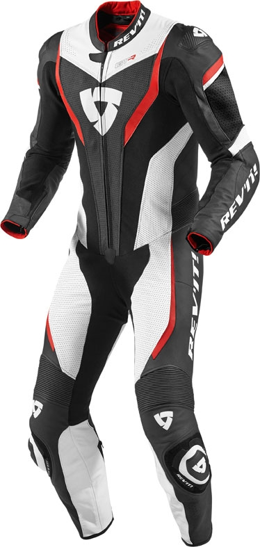 Rev'it GT-R one piece leather suit white red