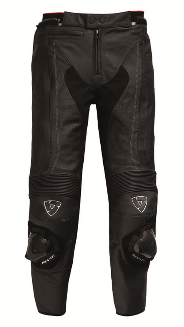 Black leather motorcycle pants Rev'it Warrior - Elongated