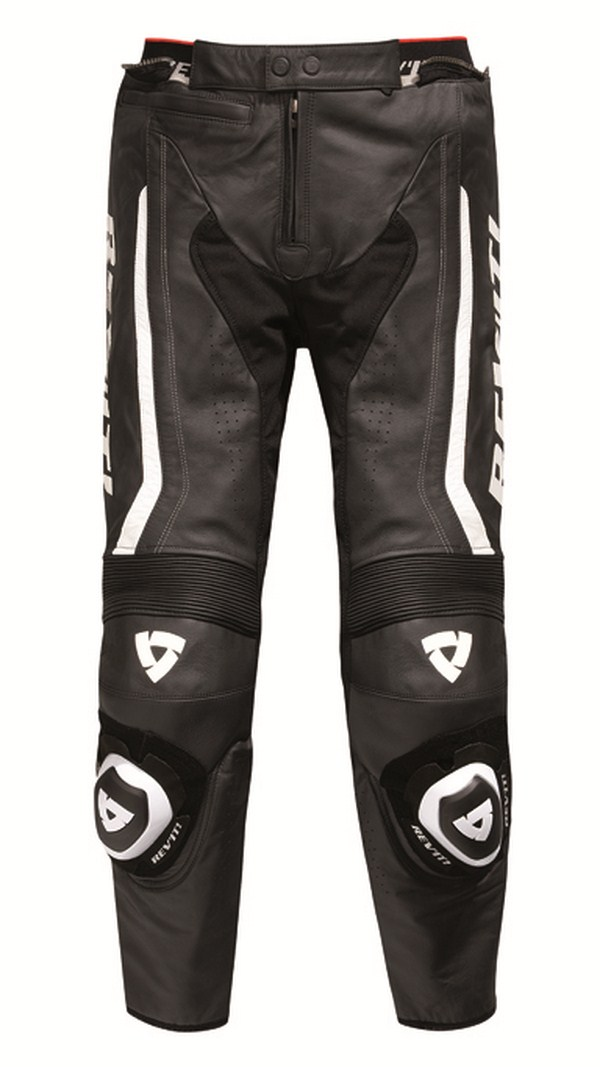Leather motorcycle pants Rev'it Warrior Black White - Shorte