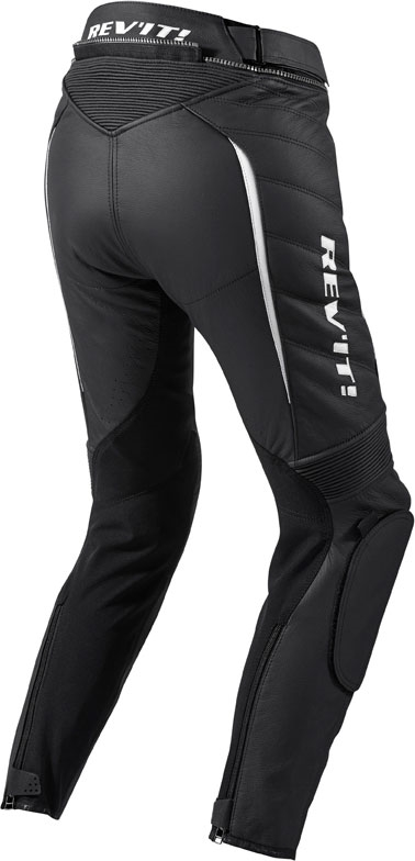 Pantaloni moto donna pelle Rev'it Xena Ladies nero-bianco accorc