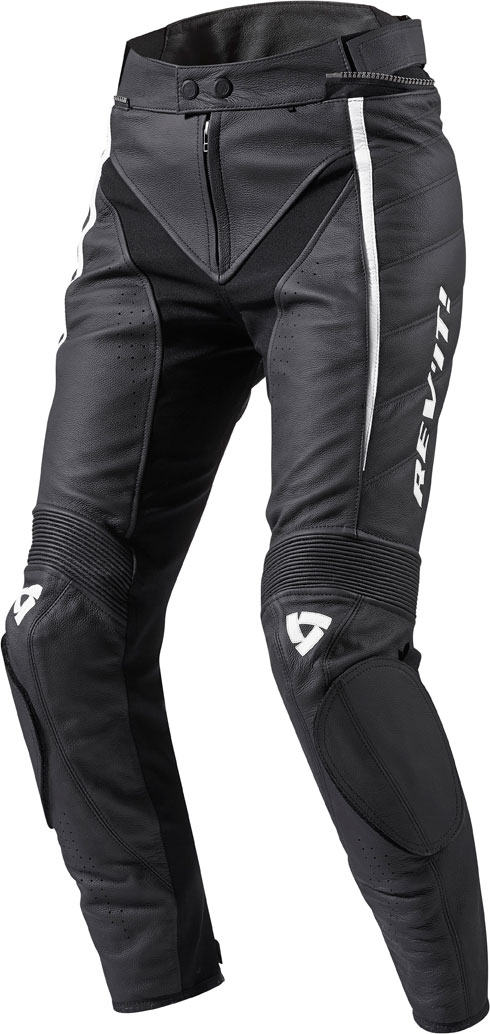 Pantaloni moto donna pelle Rev'it Xena Ladies nero-bianco allung