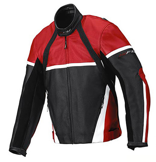 Giacca moto pelle Hy Fly Game Nero Rosso Bianco