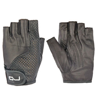 OJ Fresh half-fingers leather gloves black
