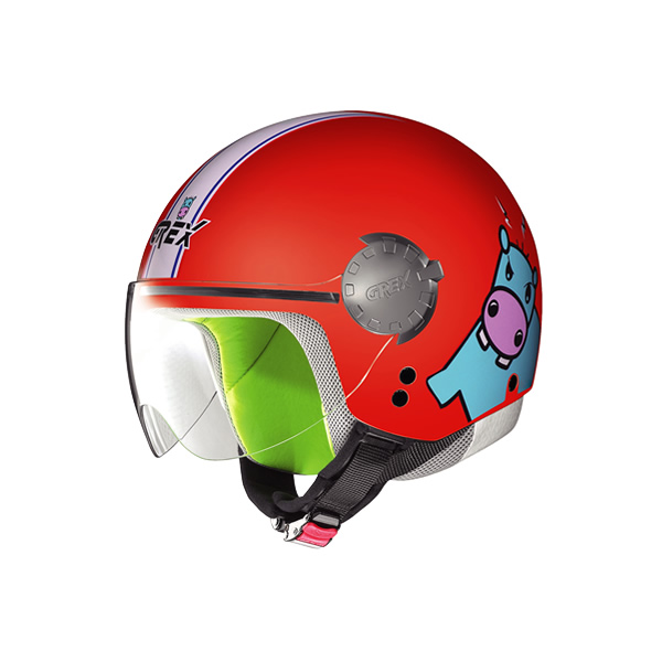 Grex G1.1 Visor Teens kid demi-jet helmet red