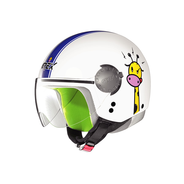 Grex G1.1 Visor Teens kid demi-jet helmet white-blue
