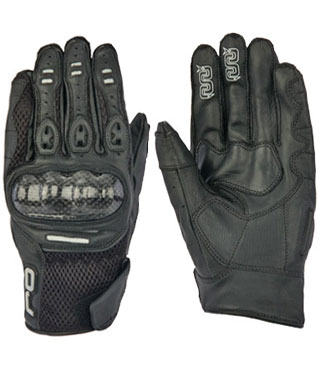 OJ Shake leather and mesh gloves black