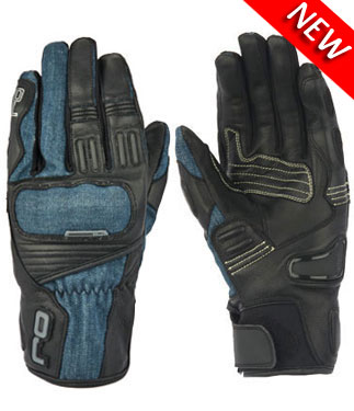 Oj Fantasi leather and denim gloves black