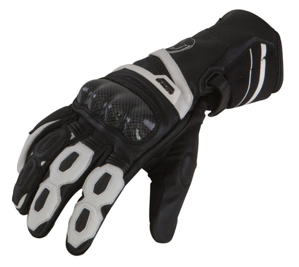 Leather motorcycle gloves approved Bering Spitfire Black White