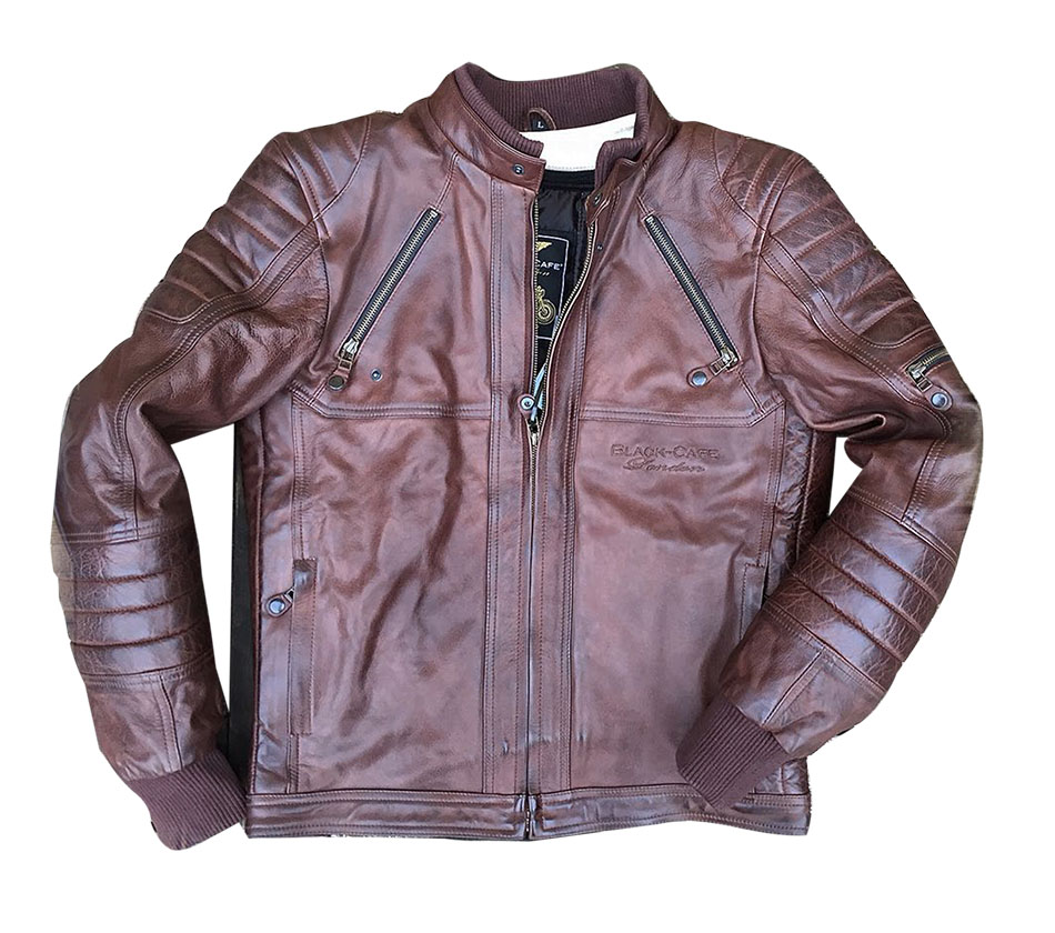 Giacca moto pelle Black Cafè London LJ10678 Marrone