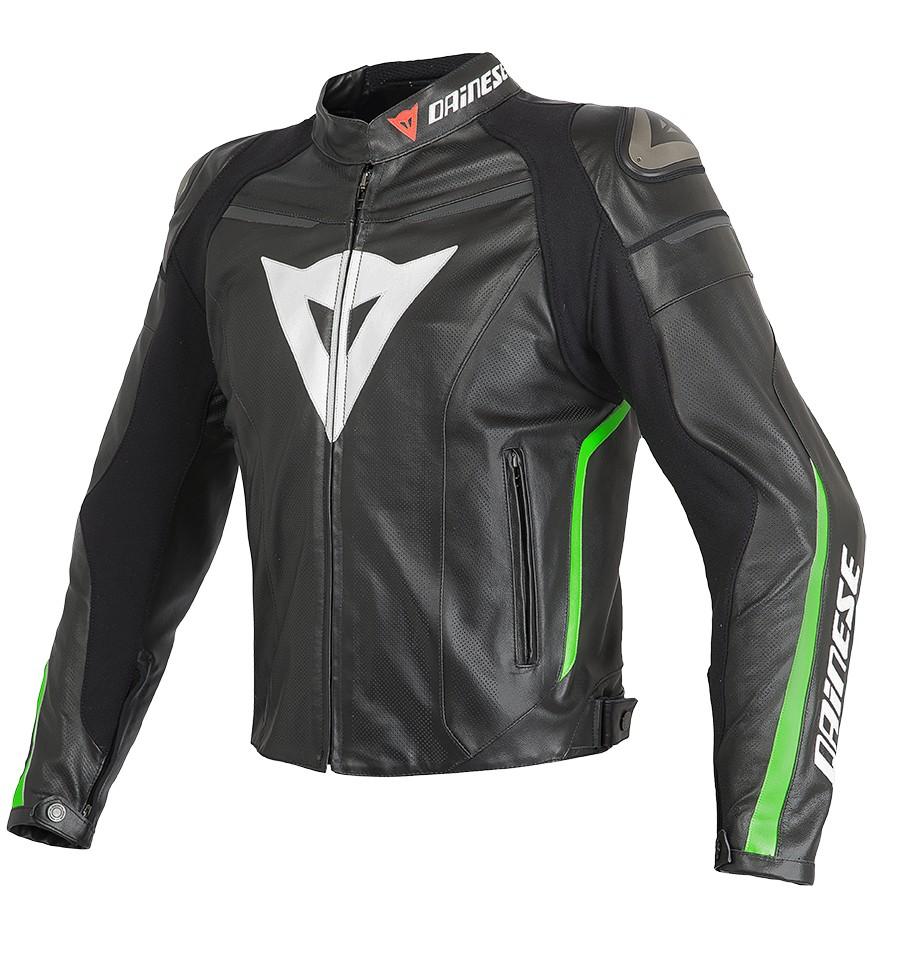 Giacca moto pelle estiva Dainese Super Fast Nero Verde