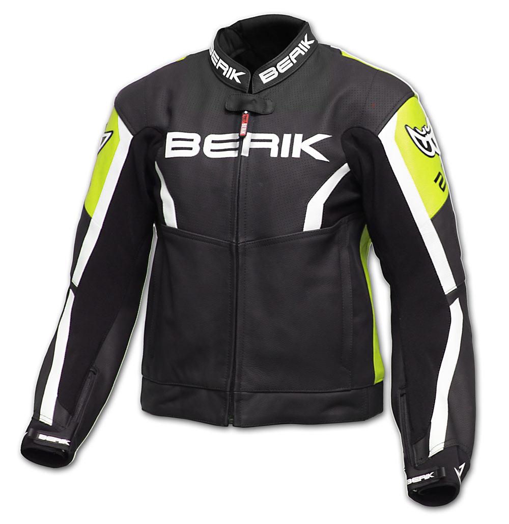 Giacca moto pelle racing Berik LJ10546 Nero Giallo Bianco