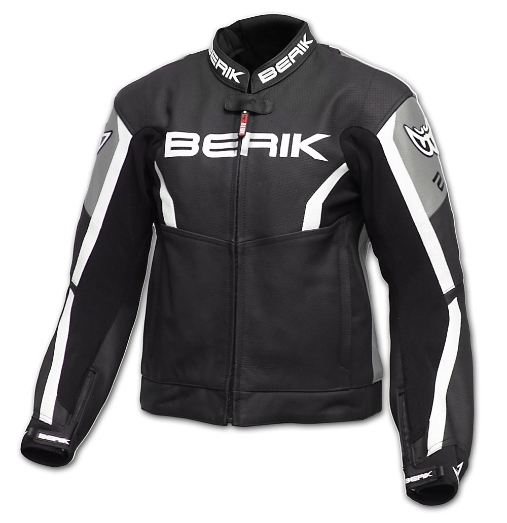 Giacca moto pelle racing Berik LJ10546 Nero Grigio Bianco