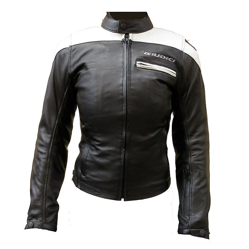 Giubbotto moto pelle donna Giudici Sport Touring Nero Bianco