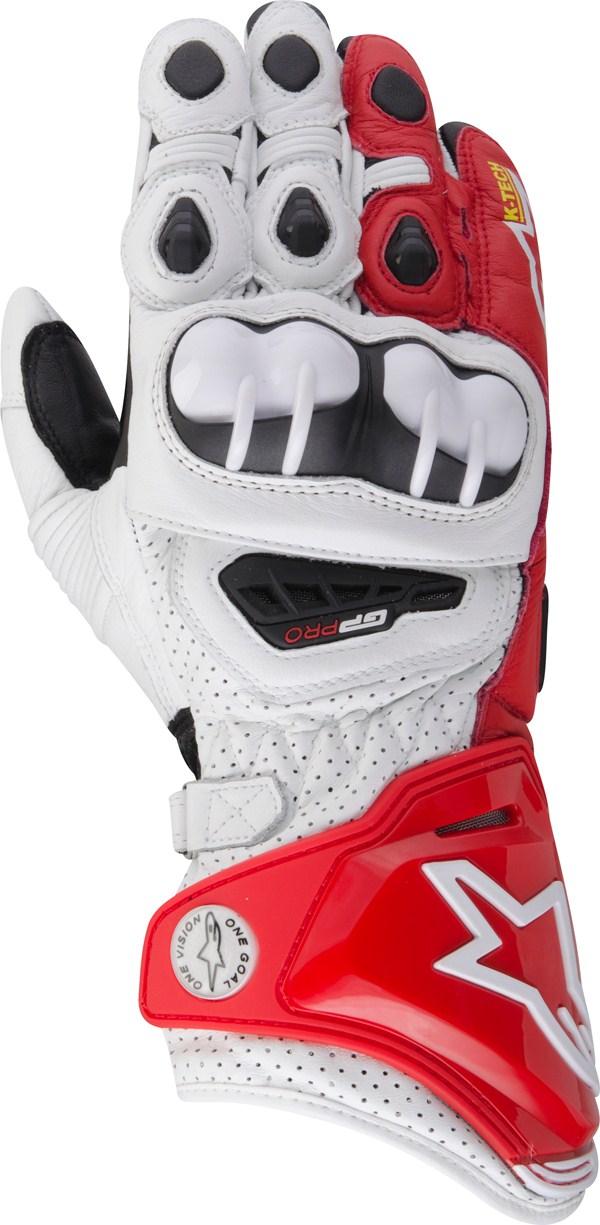 Alpinestars GP Pro leather gloves white-red-black