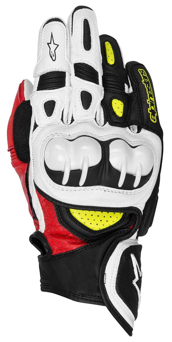 Alpinestars GPX leather gloves black-red-yellow