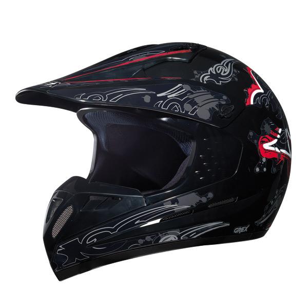 Casco moto cross Grex C1 Decor Nero-Rosso