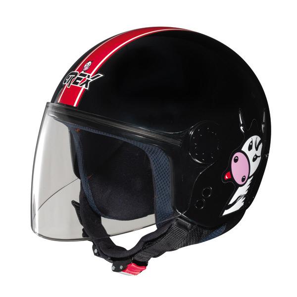 Grex K1 Visor Teens kid jet helmet Black