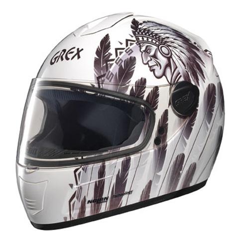 Casco moto integrale Grex R2 Indian Bianco-Grigio
