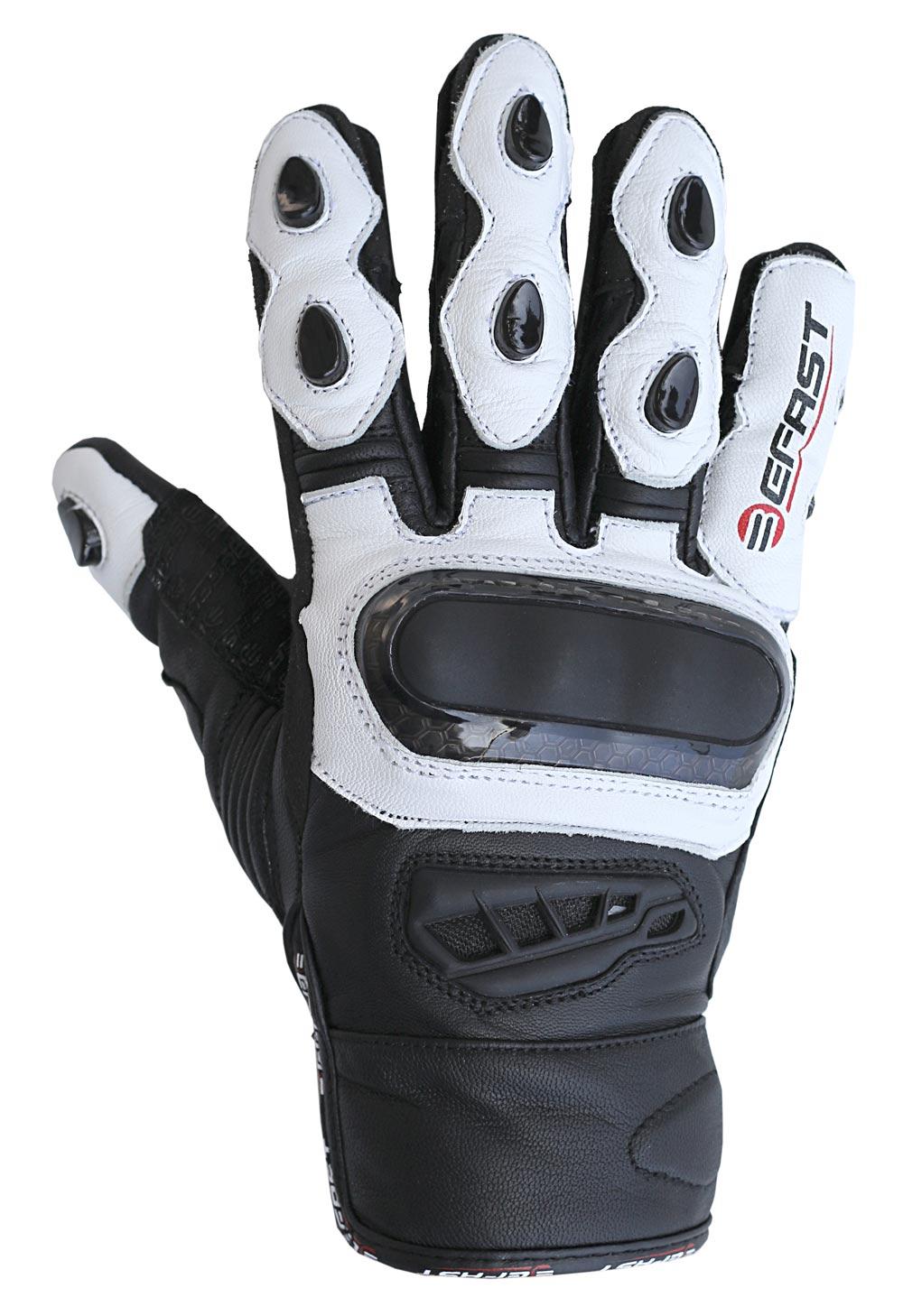 Guanti moto pelle racing Befast Pro Short Nero Bianco