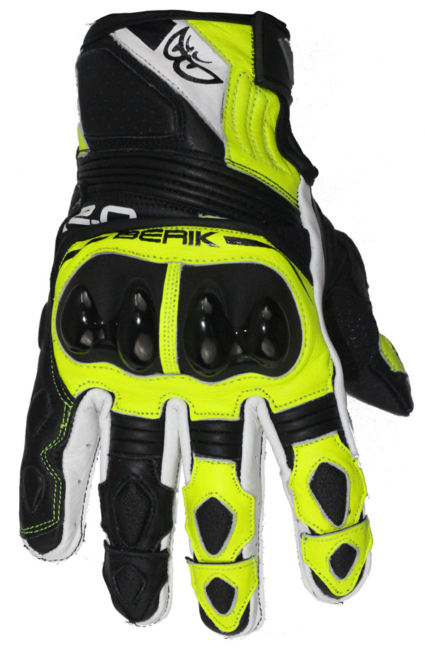Guanti moto pelle racing Berik G10509 Nero Bianco Giallo