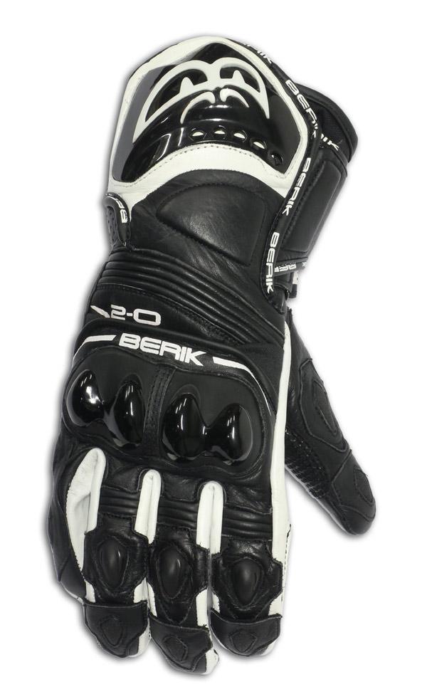 Guanti moto pelle racing Berik G10579 Nero Bianco