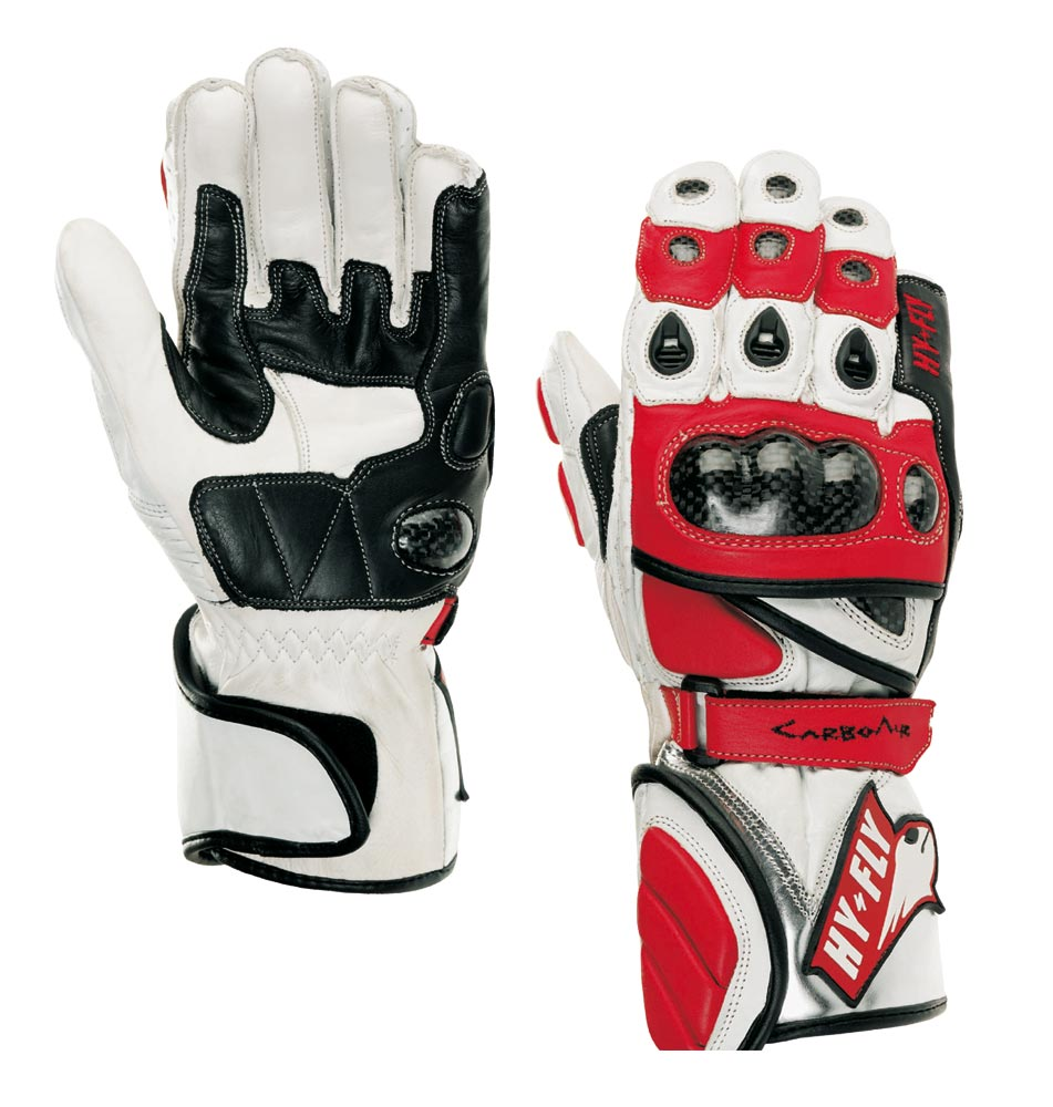 Motorcycle Racing Gloves Carbo Air Hy-Fly Color White Red