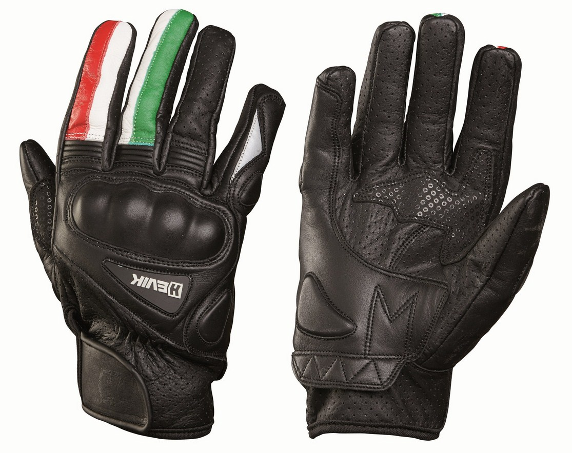 Leather motorcycle gloves summer Hevik Italy protections