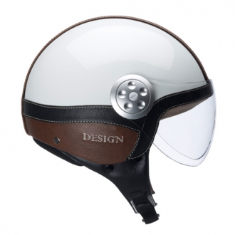 Casco demijet Kappa kv2 eco leather bianco  pelle marrone