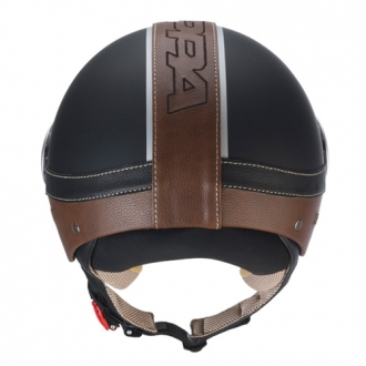 Kappa Demijet helmet KV2 eco matte black leather brown leather