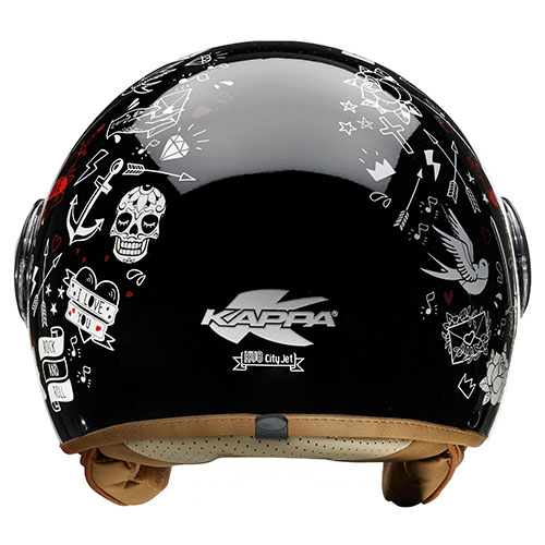 Kappa KV8 City Tattoo jet helmet Black White