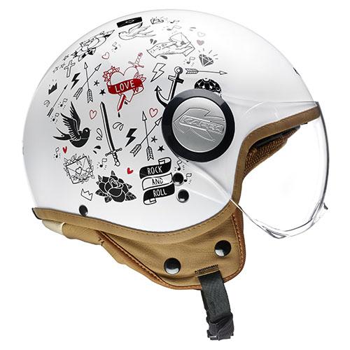 Kappa KV8 City Tattoo jet helmet White Black
