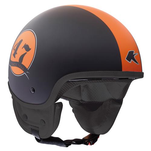 Casco demijet Kappa kv9 nero opaco arancio