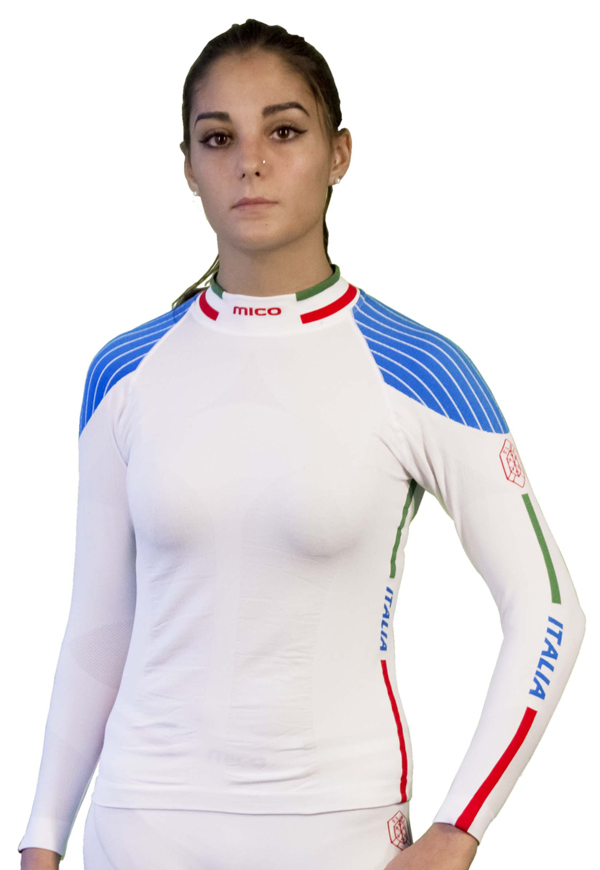 Mock Long Sleeve Women's Champion White Mico Official Fisi