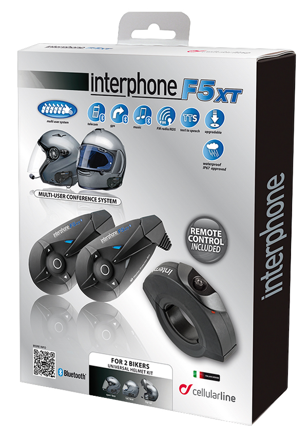 Interfono Bluetooth F5XT+telecomando kit doppio Cellular Line