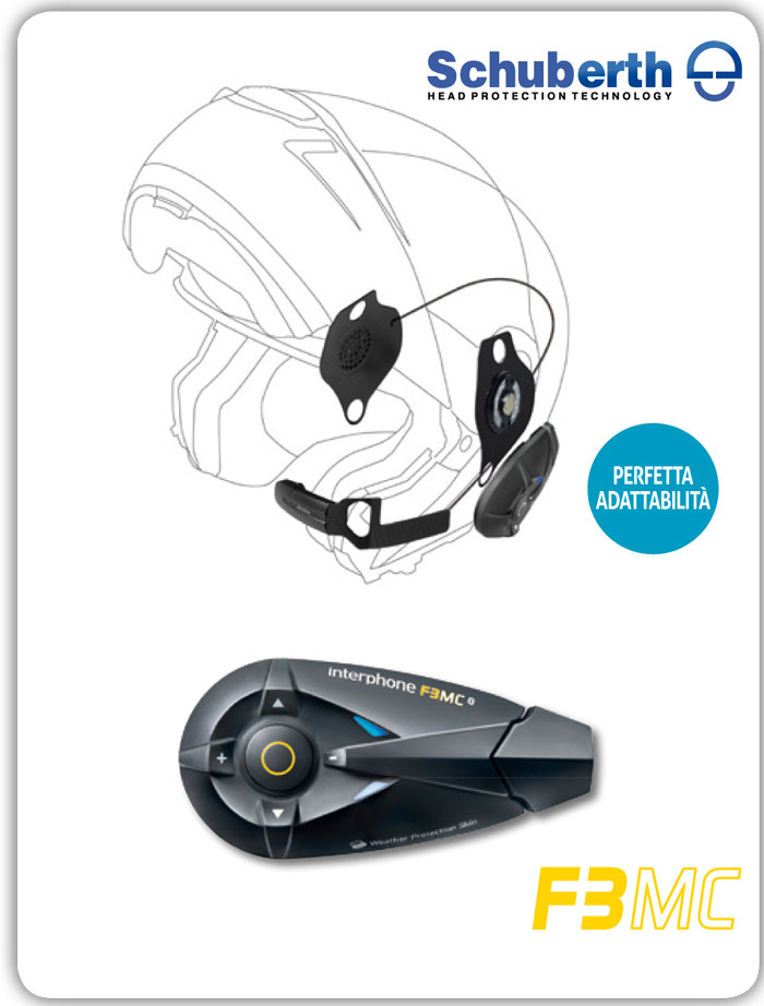 Interfono Bluetooth Cellular Line F3MC + Pro Sound per Schuberth