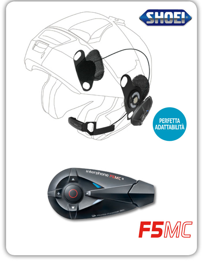 Interfono Bluetooth Cellular Line F5MC + Pro Sound per Shoei