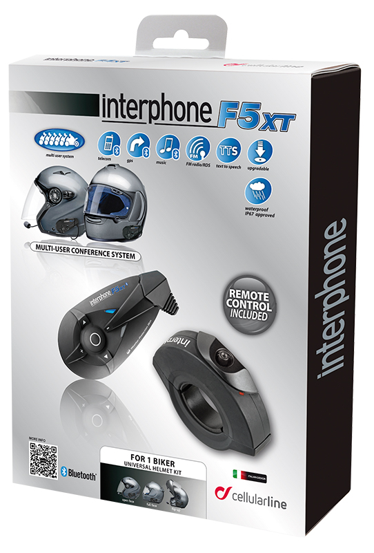 Interfono Bluetooth Cellular Line F5XT singolo con Remote Contro