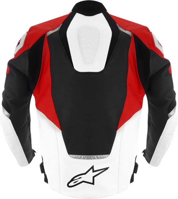 Giacca moto pelle Alpinestars Jaws nero-bianco-rosso